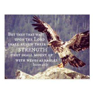 Cartão Postal Verso da bíblia: Renove a força, asas como Eagles