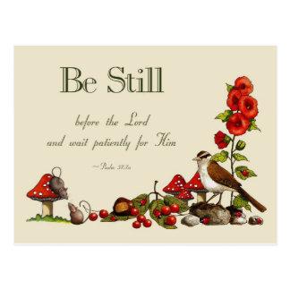 Cartão Postal Verso da bíblia: Salmo 37: Seja ainda: Espera