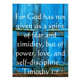 Cartão Postal Verso da bíblia sobre a coragem - 1:7 de Timothy
