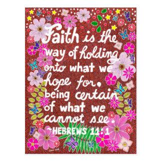 Cartão Postal Verso floral colorido bonito da bíblia da fé
