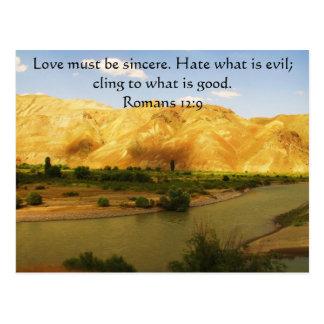 Cartão Postal Verso inspirado   da bíblia do 12:9 dos romanos