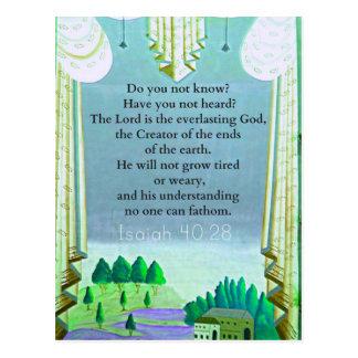 Cartão Postal Verso inspirado da BÍBLIA do 40:28 de Isaiah
