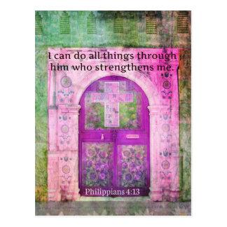 Cartão Postal Verso inspirado da bíblia sobre a força & a fé