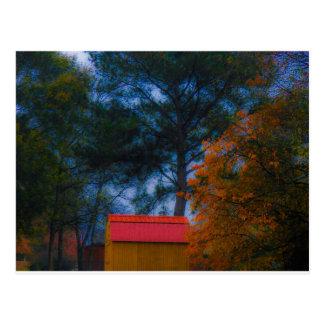 Cartão Postal Vertente telhada vermelho na queda