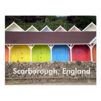 Cartão Postal vertentes da praia, Scarborough, Inglaterra