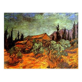 Cartão Postal Vertentes de madeira, uma pintura de Van Gogh