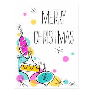 Cartão Postal Vertical de canto do Natal dos Baubles retros da