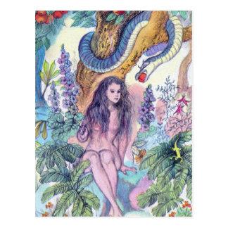 Cartão Postal Véspera que senta-se em Gargen de Eden com cobra