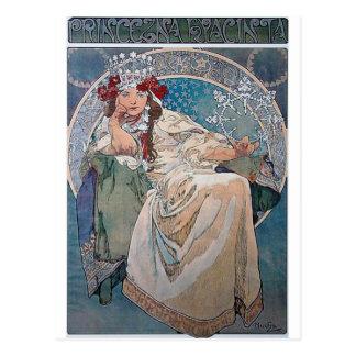 Cartão Postal Vestido azul da senhora do hyacinta da princesa de