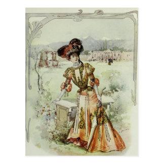 Cartão Postal Vestido Forma-Alaranjado francês do