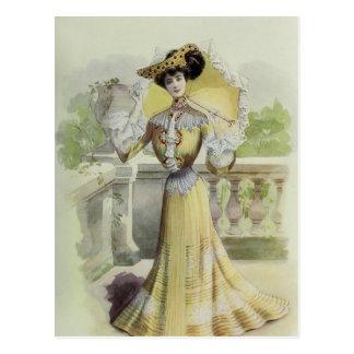 Cartão Postal Vestido Forma-Amarelo francês do Senhora-Vintage