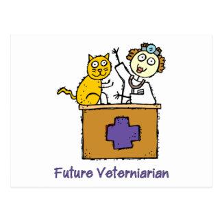 Cartão Postal Veterinário futuro - menina com gato