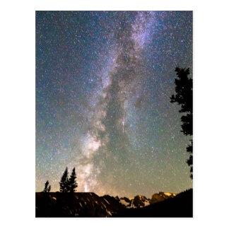 Cartão Postal Via Láctea da montanha rochosa e estrela de queda
