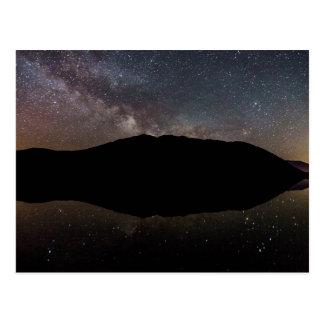 Cartão Postal Via Láctea sobre o lago McDonald, geleira NP