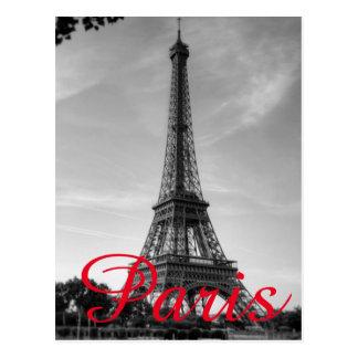 Cartão Postal Viagem branco preto da cidade do amor de Paris da