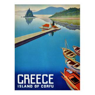 Cartão Postal Viagem da piscina do vintage - ilha de Corfu