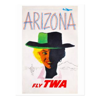 Cartão Postal Viagem da vaqueira da arizona do vintage