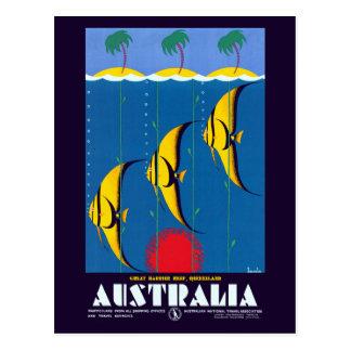 Cartão Postal Viagem de Austrália do recife de coral do vintage