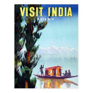Cartão Postal Viagem de India Kashmir da visita do vintage