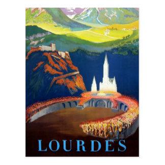 Cartão Postal Viagem de Lourdes France do vintage