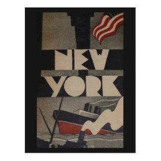 Cartão Postal Viagem de New York do vintage