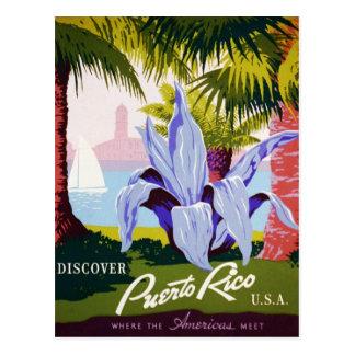Cartão Postal Viagem de Puerto Rico do vintage - art deco