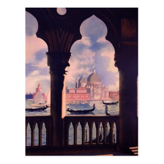 Cartão Postal Viagem de Veneza Italia do vintage