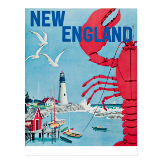 Cartão Postal Viagem do farol da lagosta de Nova Inglaterra do