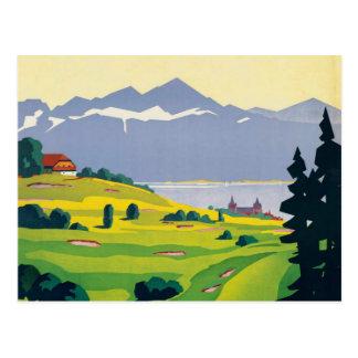 Cartão Postal Viagem do golfe da suiça de Lausana do vintage