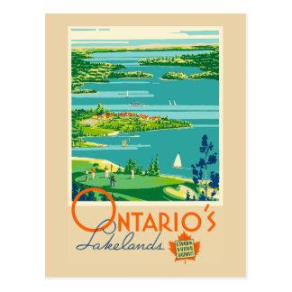 Cartão Postal Viagem do Lakelands Canadá de Ontário do vintage