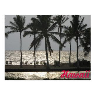 Cartão Postal Viagem do por do sol de Havaí