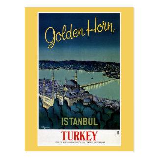 Cartão Postal Viagem dourado de Istambul Turquia do chifre do