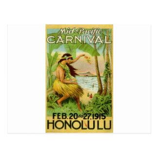 Cartão Postal Viagem havaiano do vintage