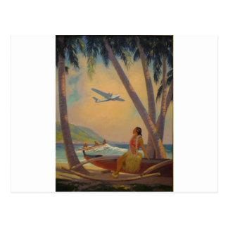 Cartão Postal Viagem havaiano do vintage - dançarino da menina