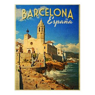 Cartão Postal Viagens vintage da espanha de Barcelona