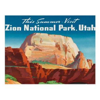 Cartão Postal viagens vintage das férias de Utá do parque