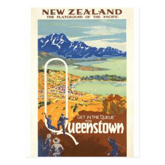 Cartão Postal Viagens vintage de Queenstown, Nova Zelândia