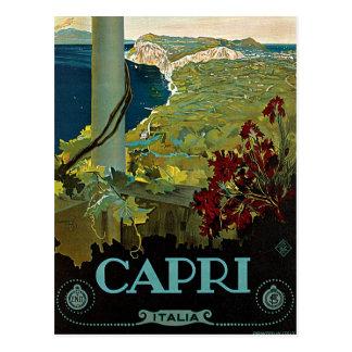 Cartão Postal Viagens vintage, ilha costa de Capri, Italia