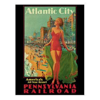 Cartão Postal Viagens vintage, louro da praia do recurso de