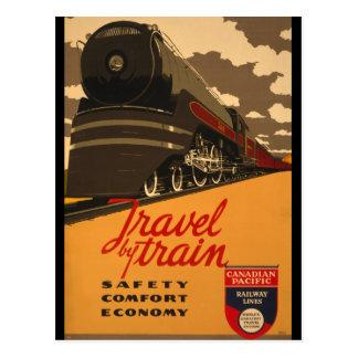 Cartão Postal Viagens vintage pelo poster do trem