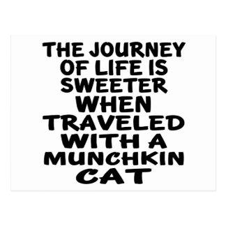 Cartão Postal Viajado com gato de Munchkin