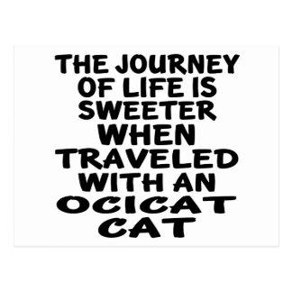 Cartão Postal Viajado com gato de Ocicat