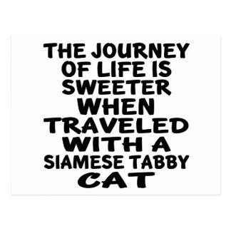 Cartão Postal Viajado com o gato de gato malhado Siamese