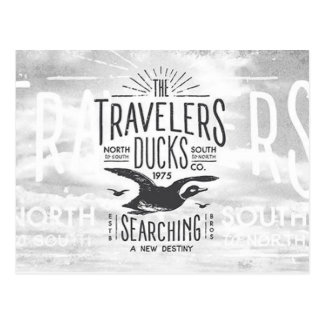 Cartão Postal Viajantes do pato do vôo do vintage para o destino