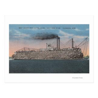 Cartão Postal Vicksburg, MS - vista do barco com o algodão a
