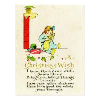 Cartão Postal Victorian do vintage uma menina do desejo do Natal
