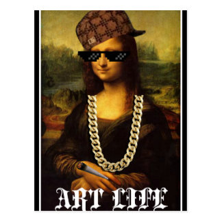 Cartão Postal Vida da arte da vida do vândalo de Mona Lisa