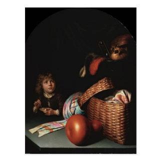 Cartão Postal Vida de Gerrit Dou ainda, bolhas de sabão de sopro