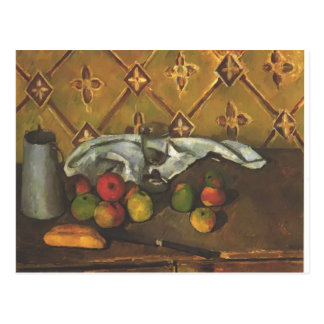 Cartão Postal Vida de Paul Cezanne- ainda com maçãs, servettes