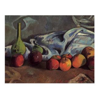 Cartão Postal Vida de Paul Gauguin-Still com maçãs e o vaso